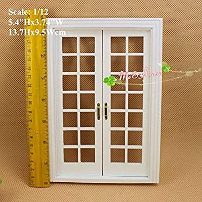 "DIY Dollhouse Miniatures 1/12 Scale Double Hung 14 Panel French Glass Door White; 5.4"" Wx7.7 H: Toys & Games"
