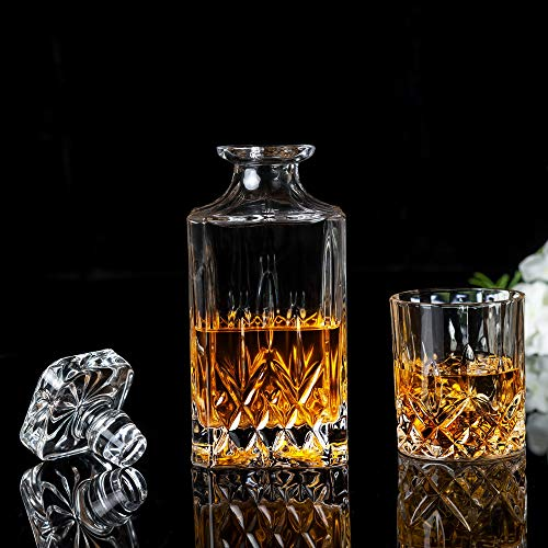 KANARS Whiskey Decanter And Glass Set In Unique Luxury Gift Box - Original Crystal Liquor Decanter Set For Bourbon, Scotch or Whisky, 5-Piece by KANARS (Image #1)