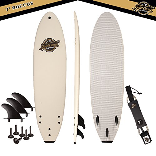 Gold Coast Surfboards - 7' SoftTop Foam Surfboard - The Ruccus - High Performance Foam Surfboard - CrocSkin Foam Deck, Double Concave Bottom Deck, Rubber Logo, 3 Stringers, GoPro Mount, No Wax Needed