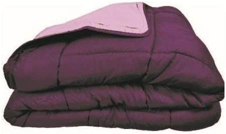Couette bicolore Polyester Prune//Parme 200 x 200 cm Gamme CALGARY POYET MOTTE