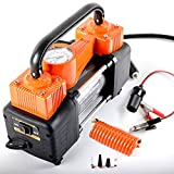 AutoVirazh Heavy Duty Dual Cylinder Portable Air Compressor Pump: 12V Electric Car Tire Inflator, 150 PSI Small Compressor Tanks & 3 Universal Adapters for Automobiles, Bikes & Inflatables