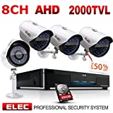 Cheap ELEC 1080P 8CH 1080N Video Security System DVR (4) 1.3MP 2000TVL Indoor Outdoor Weatherproof Security Cameras CCTV Surveillance, 65ft IR LED Night Vision, 500GB Hard Disk Drive