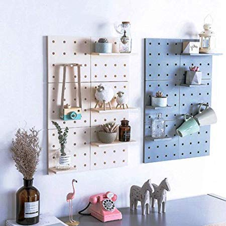 Hole Plate Decoration Storage Living Room Bathroom Partition Wall Mount Shelf Holder Racks Kit - Storage Holders Racks