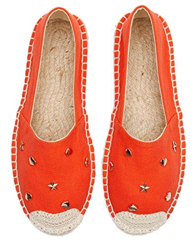 Orange lite Women Espadrilles Decoration Slip rivet Loafer Shoes On U wqO8xd6tw