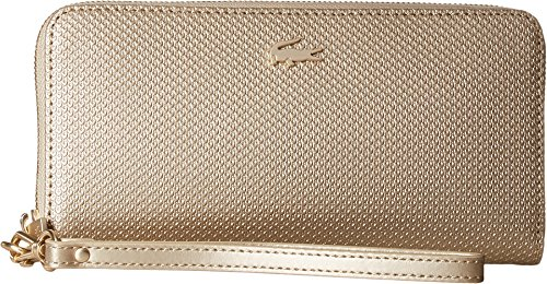 Lacoste Women's Chantaco Holidays Large Wristlet Zip Wallet Rich Gold One Size by Lacoste