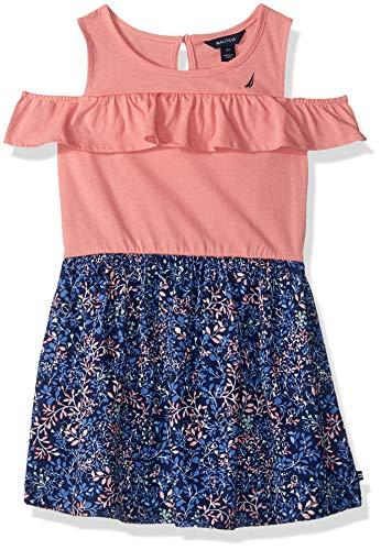 Nautica Girls' Toddler Patterned Sleeveless Dress, Salmon Flounce, - Poplin Skirt Cotton Floral