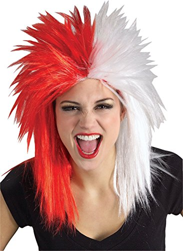 [Rubie's Costume Red and White Sports Fan Wig, Red/White, One Size] (Fan Costumes)