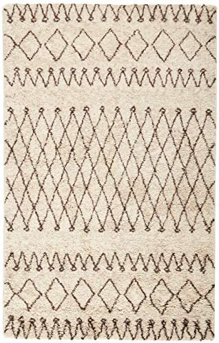 Safavieh Casablanca Shag Collection CSB851A Southwestern Ivory and Natural Premium Wool Cotton Area Rug 5' x 8'