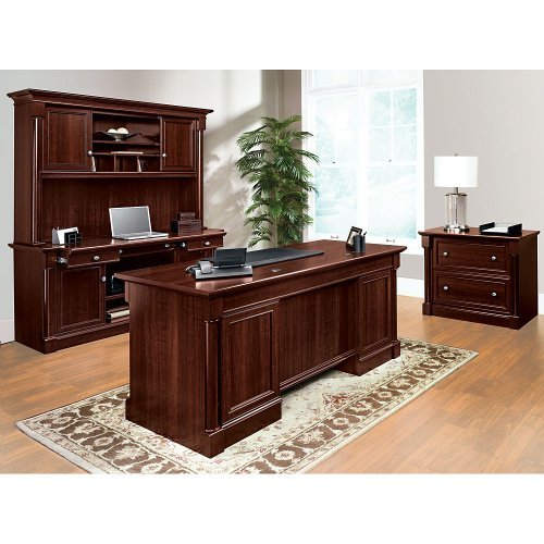 Sauder Office Furniture Palladia Collection Cherry Office Set with Desk, Credenza, Hutch and File Lateral File Console