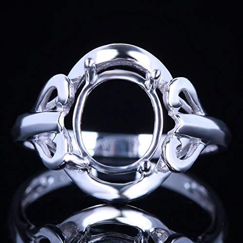 FidgetKute 9x7mm Oval Solitaire Semi-Mount Ring Size 6.5 Sterling Silver 925 Plate 14K
