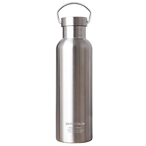 Insulated Water Bottle, Sahara Sailor Leak-Proof No Sweating Metal Water Bottle, BPA-free, Double Wall Stainless Steel Water Bottle, 700ml / 25oz, Cold up to 24 Hrs, Hot up to 12 Hrs