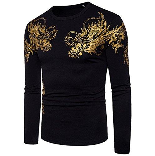 Mens Shirt,Kintaz Hot Sale!Men's Casual Dragon Gaphic T-Shirt O Neck Pullover Long Sleeved Tops Blouse (Black, (Black Dragon Sleeve Shirt)