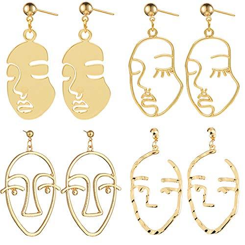 - Face Earrings Gold Statement Earrings - 4 Pair Vintage Hypoallergenic Dangle Stud Earrings for Girls Teens Women