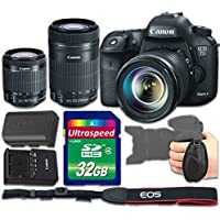 Canon EOS 7D Mark II DSLR Camera Bundle with Canon EF-S 18-55mm f/3.5-5.6 IS STM Lens + Canon EF-S 55-250mm f/4-5.6 IS STM Lens + 32gb Memory SD Card + Grip Strap - International Version(No Warranty)