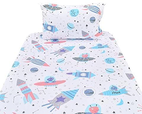 J-pinno Planet Spaceship Rocket Twin Sheet Set for Kids Boy Children,100% Cotton, Flat Sheet + Fitted Sheet + Pillowcase Bedding (Rocket Twin Bedding)
