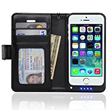 Navor 2 in 1 iPhone 5 5S Folio Leather Wallet Case Extended Rechargeable Battery Juice Case 2200mAh (iPhone 5, Black)
