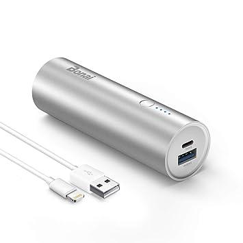 BONAI Power Bank, 5800mAh Cargador Móvil Portátil Batería Externa para iPhone Samsung con Cable - Argento