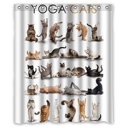 Yoga Cats Shower Curtain 60 x 72 Inch Bathroom