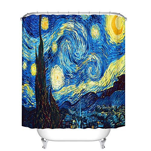 Fangkun Polyester Fabric Waterproof Bath Curtains - Starry Night Artwork Abstract Oil Painting Art Print Shower Curtain Sets - 12pcs Shower Hooks (YL156#, 72 x 72 ()