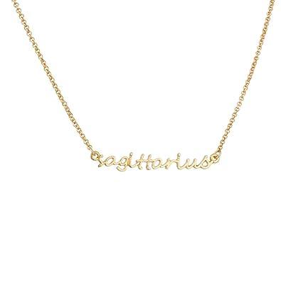 Lux Sagittarius Archer Horoscope Zodiac Word Pendant Necklace.