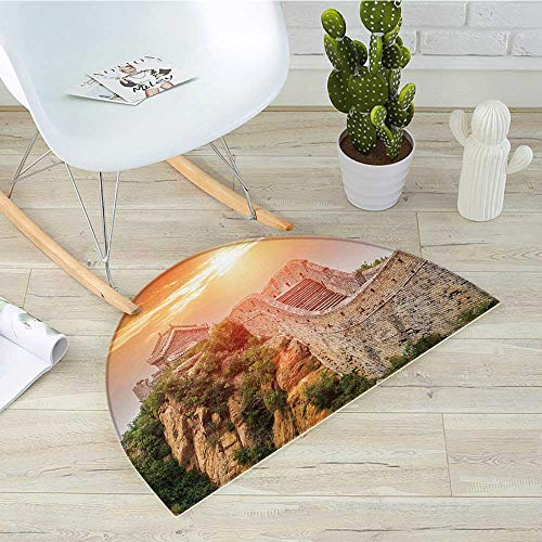 Great Wall of China Half Round Door mats Sunrise Horizon on Traditional Stone Building Empire Culture Design Bathroom Mat H 47.2