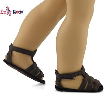 """Doll Clothes 18/"""" Sandals Black Shoes Ankle Strap Fits American Girl Dolls"""