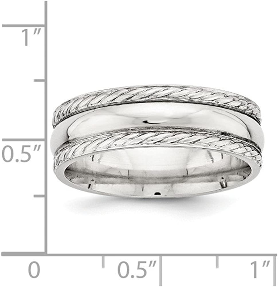 Bridal Wedding Bands Fancy Bands SS 6mm Polished Fancy Band Size 10 Size 9.5
