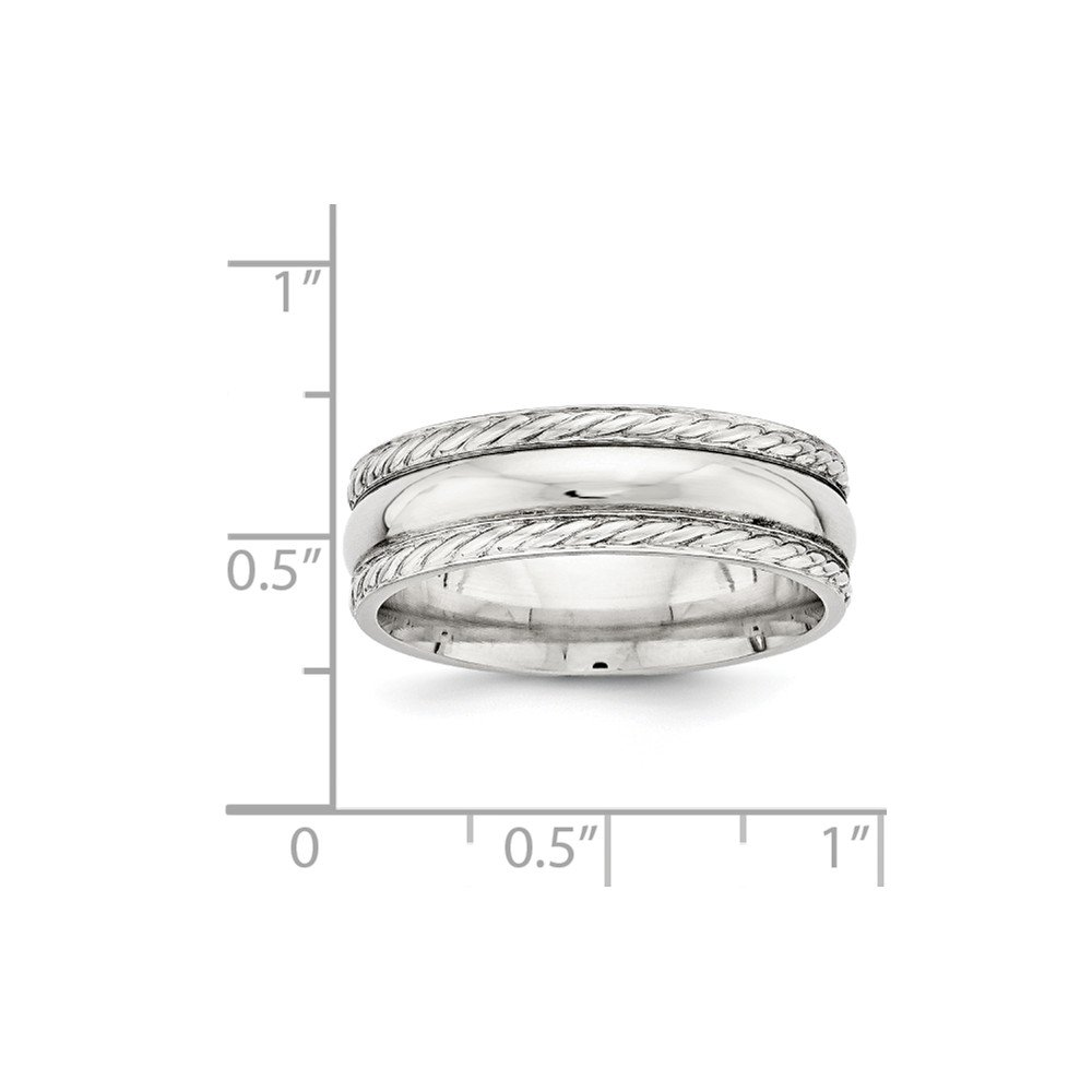 Bridal Wedding Bands Fancy Bands SS 6mm Polished Fancy Band Size 10 Size 8.5