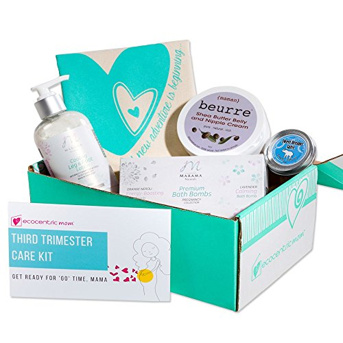 Ecocentric Mom Pregnancy Gift Box - Third Trimester Maternity Gifts With Pregnancy Bath Bombs, Sleep Slave Oil, Leg & Foot Cream, Tote Bag and Nipple Cream