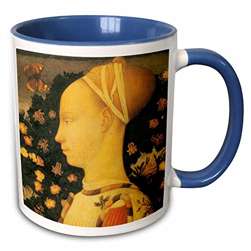 3dRose BLN Italian Renaissance Fine Art Collection - Ginepro dEste by Antonio Pisano - 15oz Two-Tone Blue Mug (mug_127096_11)