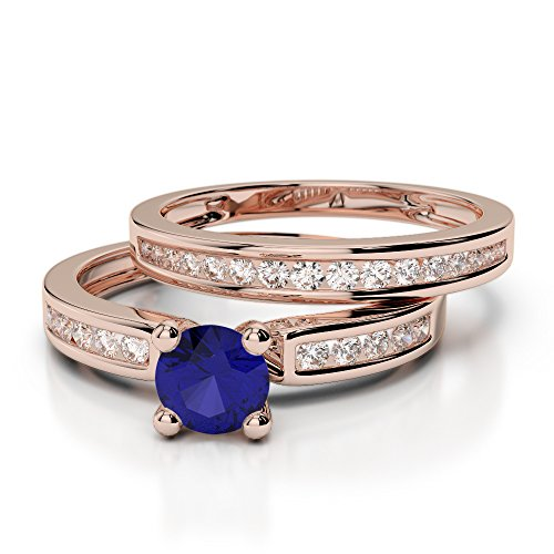Or Rose 18carats 1/2ct G-H/VS sertie de diamants ronds Cut Saphir et mariée Bague de fiançailles et ensemble de Agdr-1157