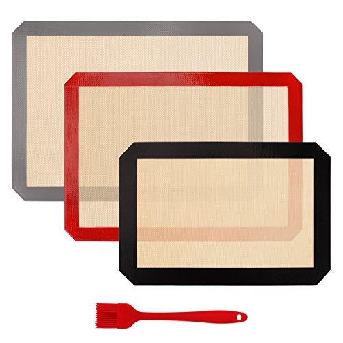 Silicone Baking Mat Set of 3 BPA Free Professional Non Stick Large Liner Sheets