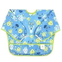 Bumkins Disney Baby Waterproof Sleeved Bib, Monsters Blue (6-24 Months)
