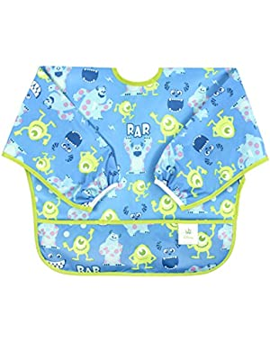 Bumkins Disney Baby Waterproof Sleeved Bib, Monsters Inc. Blue (6-24 Months)