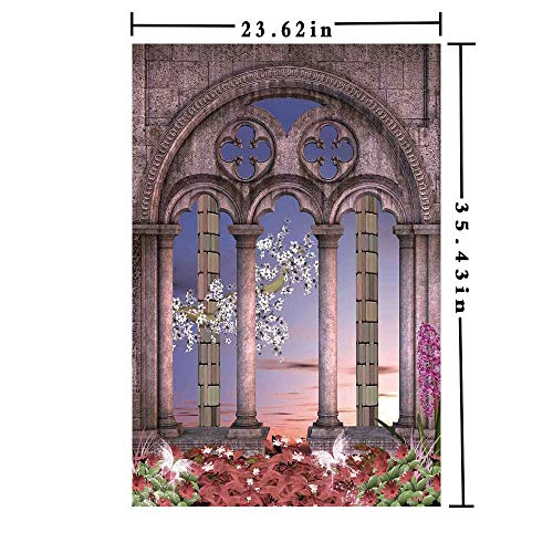3D printed Window Films Decorative Kitchen Glass Sticker, Ancient Colonnade in Secret Garden with Flowers at Sunset Enchanted Forest Static Heat Control Anti UV 23.62In by 35.43In,Grey Blue Lilac Re