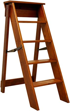 LIXIONG Escalera Plegable Multifunción Unilateral Escalera De 5 Escalones Madera Maciza, Rodamiento 100kg, Alta 91cm (Color : Brown, Tamaño : 38x52x88cm): Amazon.es: Hogar