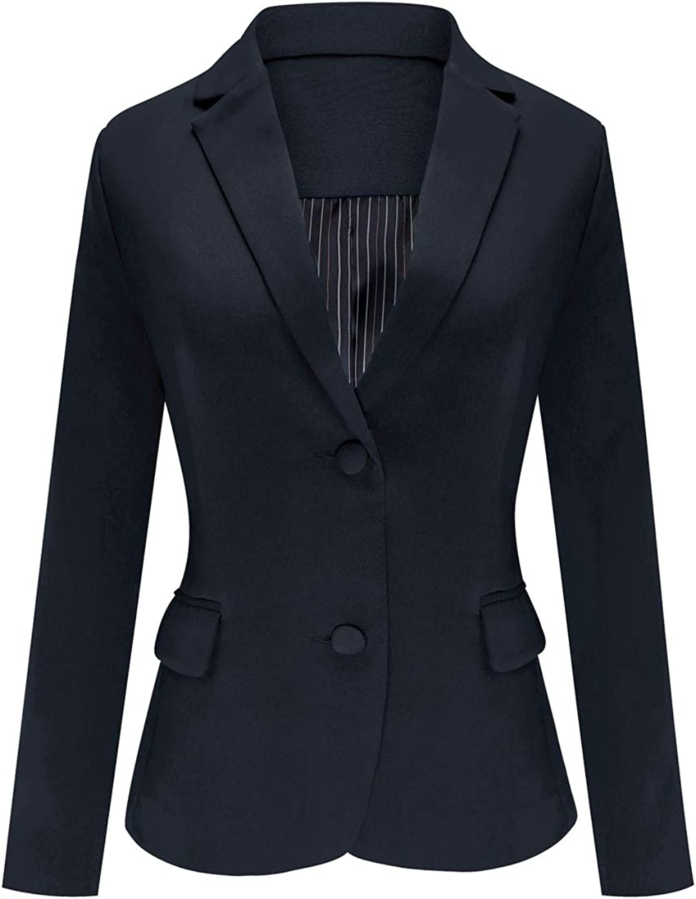Luyeess Women's Casual Work Office Notch Lapel Pocket Buttons Blazer Suit Jacket