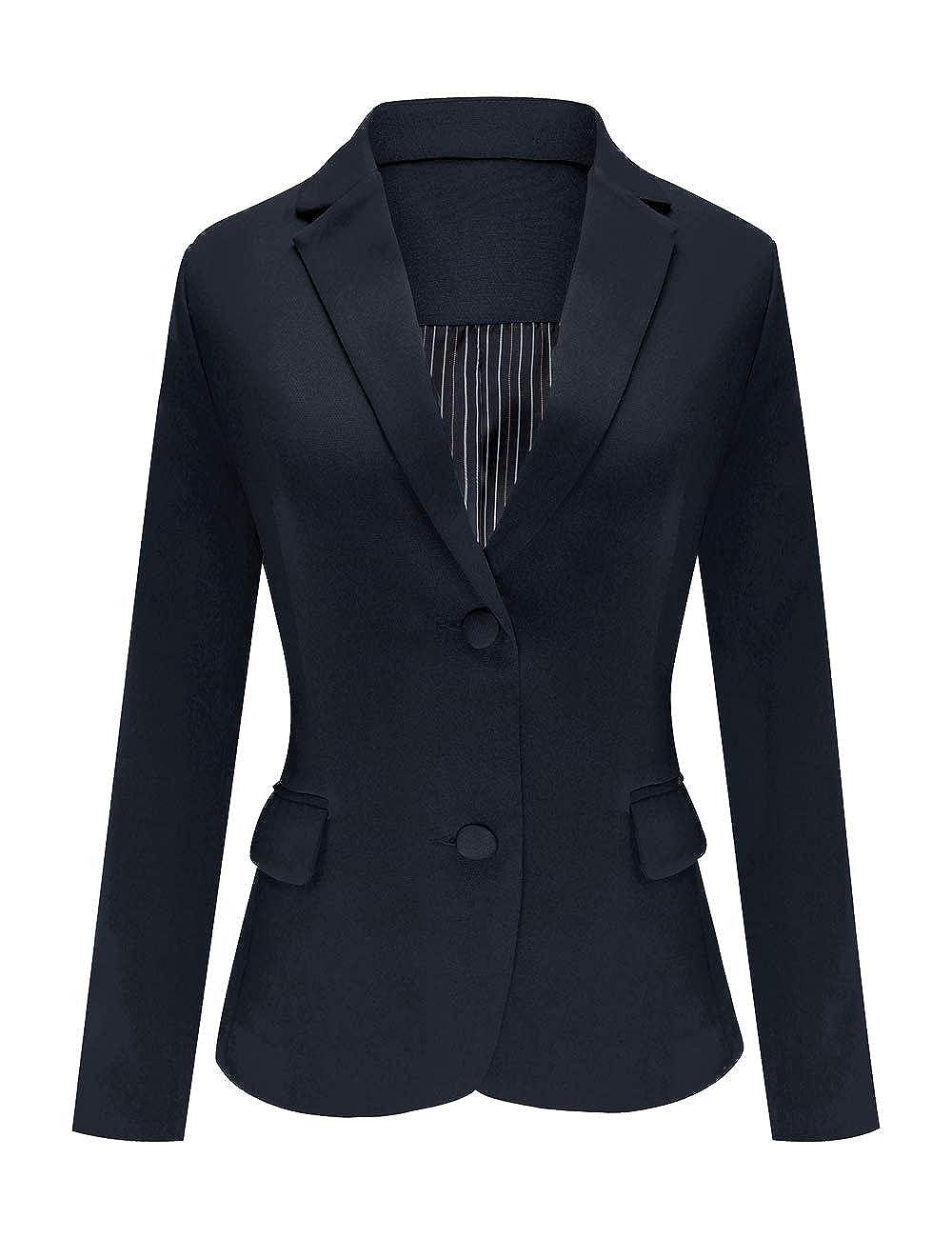 Navy bluee Luyeess Women's Casual Work Office Notch Lapel Pocket Buttons Blazer Suit Jacket