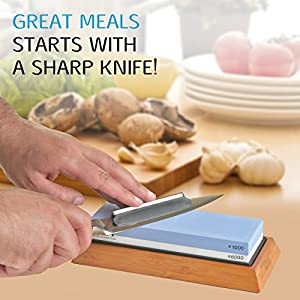 Premium Knife Sharpening Stone Set 2 Side Grit 1000/6000 | Whetstone Sharpener | Waterstone For Knives and tools | NonSlip Bamboo Base | Angle Guide and Water Spray Bottle | (Blue)