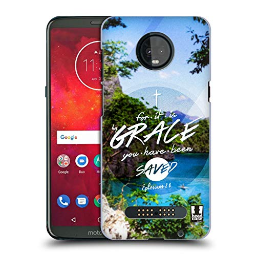 Head Case Designs Grace Christian Typography Series 3 Hard Back Case Compatible for Motorola Moto Z3 / Z3 Play