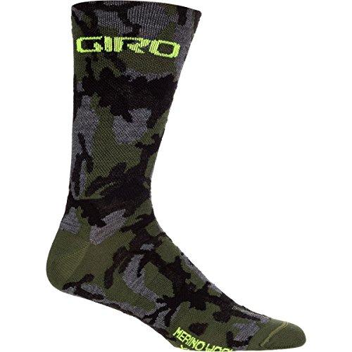 Camo Wool (Giro New Road Merino Seasonal Wool Socks Camo/Highlight Yellow, L - Men's)