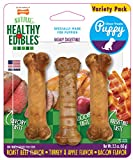 Nylabone Healthy Edibles Puppy Natural Long Lasting Dog Chew Treats Bacon, Roast Beef, Turkey & Apple Petite 3 count, Brown