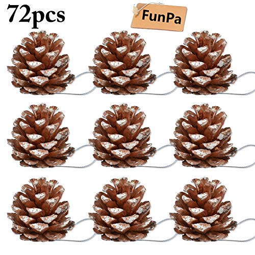 FunPa Pine Cones, 72Pcs Wedding Hanging Pinecone Ornaments Xmas Tree Ornaments Party Supplies