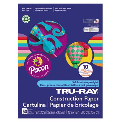 Construction Paper Recycled - Tru-Ray Heavyweight Construction Paper, Bright Assorted, 9