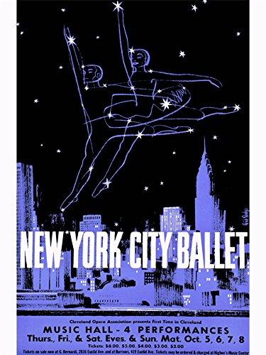 ADVERTISING EXHIBITION NEW YORK BALLET DANCE CITY SKYLINE ART POSTER PRINT 18x24 INCH (New York City Ballet Poster)