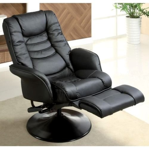 Sleek and Modern Leatherette Chair Living Room Chairs Recliners Recliner Bed Like Black Swivel Stool Stools Reclining Furniture Padded Seating and Headrest Home Theater Family Boy Man Cave Video Game Gaming Gamer Seats Seat Modern Lazy Contemporary