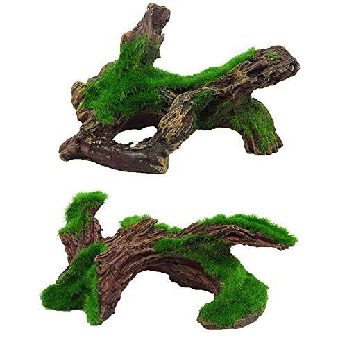 - Hamiledyi Aquarium Driftwood Artificial Resin Aquarium Log Moss Tree for Fish Tank Decoration 2 Pcs