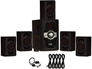Acoustic Audio AA5240 Home Theater 5.1 Bluetooth Speaker System with Optical Input and 5 Extension Cables