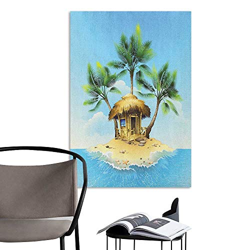 (Jaydevn Wall Mural Wallpaper Stickers Tropical Tropical Wooden Bungalow Three Palm Trees in a Small Island Cartoon Artwork Aqua Green Beige for Kids Rooms Boy Room W16 x)