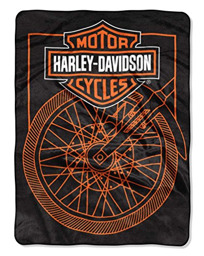 The Northwest Company Harley-Davidson Salvage Wheel Raschel Blanket, 60 x 80 inches, Black NW949157